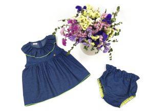 Exposición conjunto Denim, blusa y culotte, color azul oscuro.