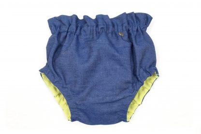 Vista frontal culotte Denim, color azul oscuro.