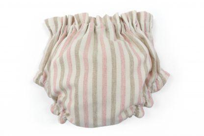 Vista trasera culotte rayas verticales arena y rosa. Modelo Desert.