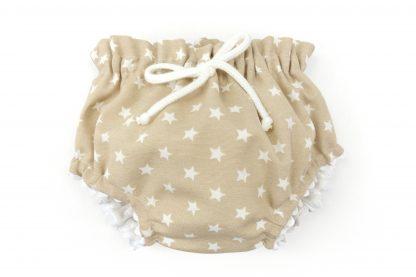 Vista frontal culotte beige con estrellas blancas. Modelo Estrellas.