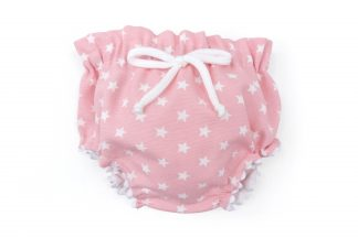 Vista frontal culotte rosa con estrellas blancas. Modelo estrellas.