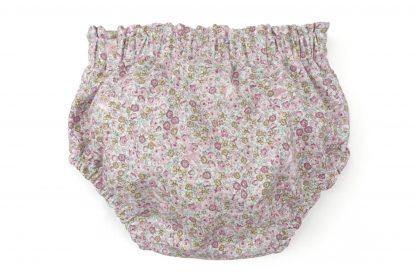 Vista trasera culotte estampado flores pequeñas tono rosa. Modelo Peonia.