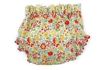 Vista trasera culotte liberty estampado flores rojo, amarillo y verde. Modelo Scarlett.