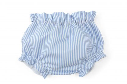 Vista frontal culotte rayas verticales azul. Modelo Summer.