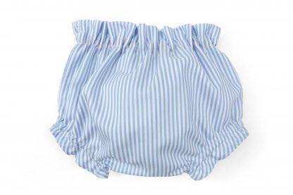 Vista trasera culotte rayas verticales azules. Modelo Summer.