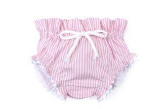 Vista frontal culotte rayas vertical rosa. Modelo Summer rosa.