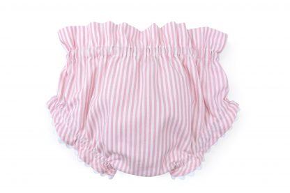 Vista trasera culotte rayas verticales rosa. Modelo Summer rosa.
