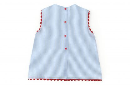 Vista espalda de vestido rayas verticales color azul. Modelo Summer.