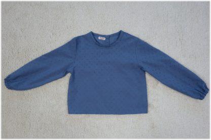 Vista frontal de camisa plumeti azul.