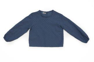 Vista frontal camisa plumeti azul jean