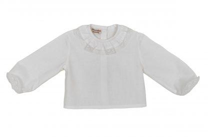 Vista frontal camisa blanca algodón orgánico y valencie