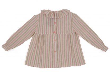 vista espalda blusa cuello volante rayas rosa y arena