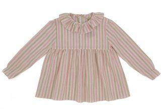 vista frontal blusa cuello volante rayas rosa y arena