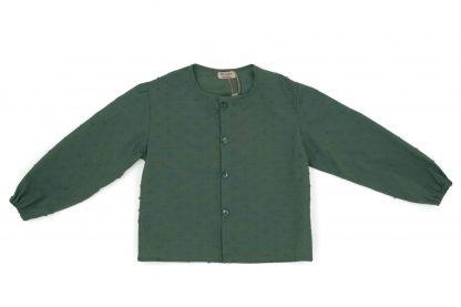 vista frontal camisa plumeti sin cuellos verde seco