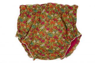 Vista frontal culotte liberty flores amapola, fucsia, azul y verde
