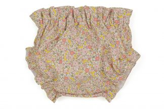 vista frontal de culotte flores amarillo y rosa