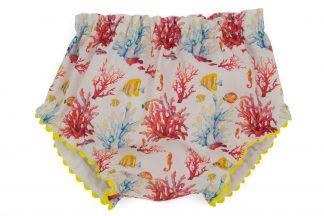 vista frontal culotte peces y corales en amarillo, coral y azul con detalles en amarillo