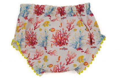 vista trasera culotte peces y corales en coral, amarillo y azul con detalles amarillos