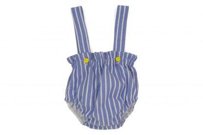 vista frontal culotte tirantes rayas azules y blanco con botones en amarillo
