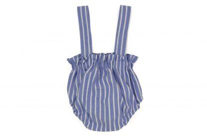 vista trasera culotte tirantes rayas azul y blanca