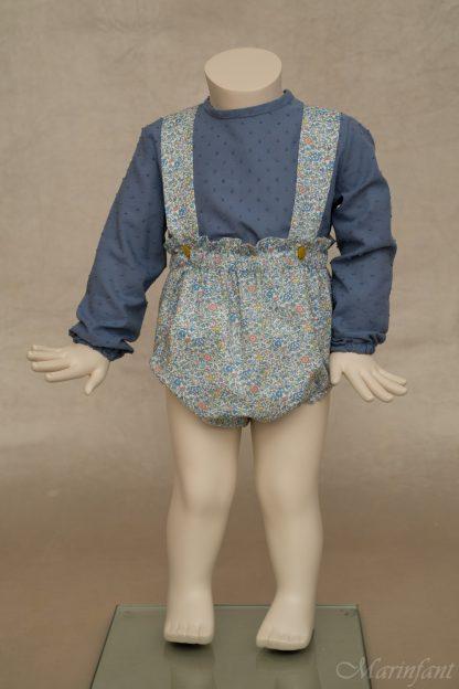 Maniqui con ranita tirantes en Liberty Millie y camisa azul