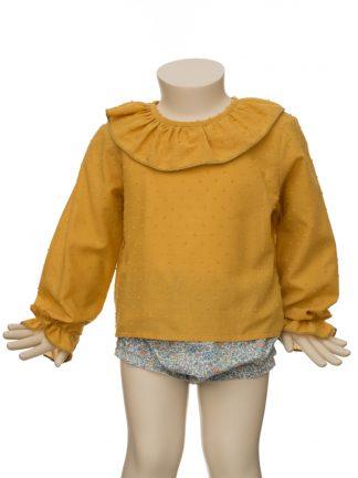 Baby - Camisa plumeti ocre plumeti con cuello volante