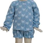 Conjunto lana estrellas azul 1 en maniquí 12 meses