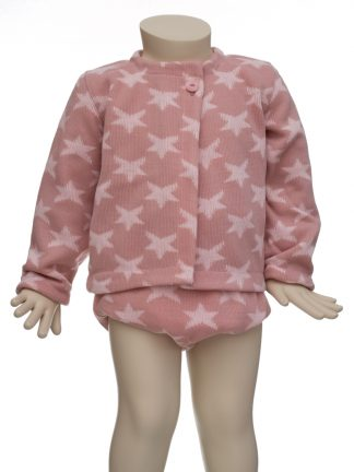 Conjunto lana estrellas rosa en maniquí 12 meses