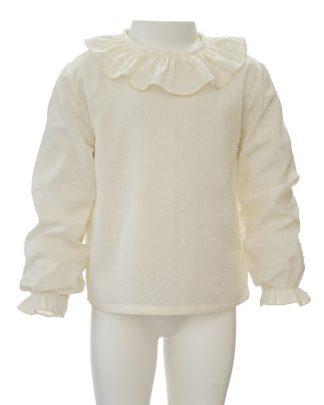 Camisa plumeti marfil - frontal